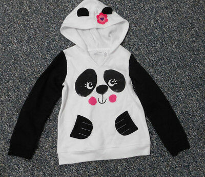JUMPING BEANS Girls White Black Panda Face Ear Hooded Fleece Lined Hoodie Size 6