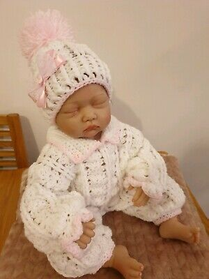 Hand Crochet Newborn Baby Girls All In One And Hat Set With Matching Bows