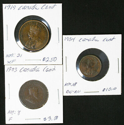 Lot of 3 Canada Large & Small Cent 1903, 1919, 1934 better grades