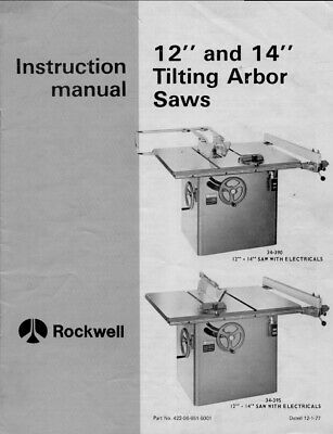 """DELTA-ROCKWELL 12"""" 14"""" Tilting Arbor Table Saw Instruction Manual 34-390 34-395"""
