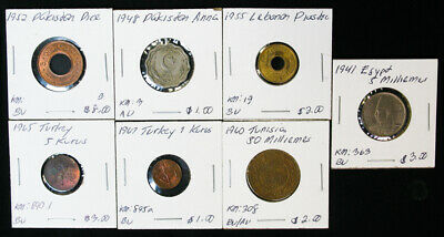 Lot of 7 Quality Foreign Middle Near East World Coins Turkey Tunisia Pakistan Le