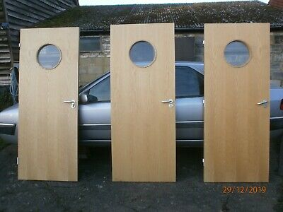 x3 Internal office commercial doors, 2.04x0.83m porthole windows Collect Herts!