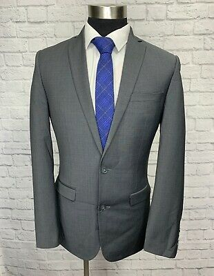 Bar III Mens Gray Wool Slim Fit Suit Jacket Sport Coat 38L