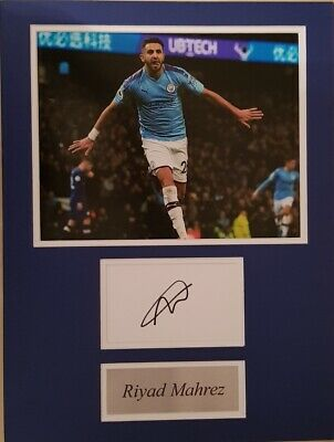 RIYAD MAHREZ Signed 16x12 Photo Display MANCHESTER CITY & ALGERIA COA