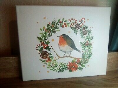 Decoupage fox robin canvas Wall Hanging Christmas. Perfect gift
