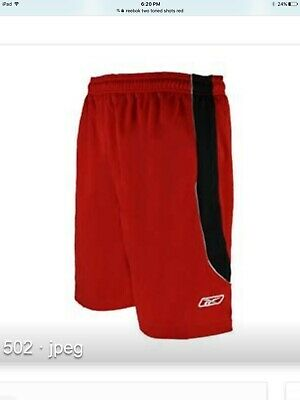 Reebok Mens Two-Toned Athletic Performance Mesh Shorts Red/Black Size Xl