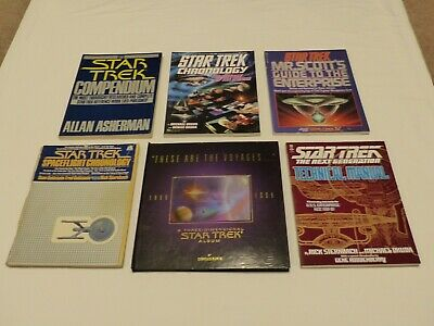 Lot Of 6 Vintage Star Trek Books Spaceflight Chronology, Technical Manual, etc