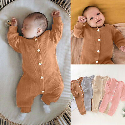 Newborn Infant Baby Girl&Boy Long Sleeve Solid Romper Jumpsuit Clothes Outfits
