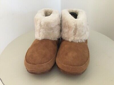 Marks And Spencer Brown Girls Shearling Bootie Bootee Slippers New Size Uk13