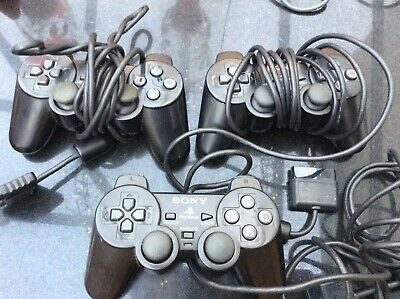 3 Official Original Sony DualShock 2 Wired Playstation PS2 Controller Pad Black
