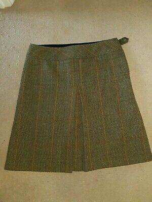 """Joules 10 """"Flora Tweed"""" Toad Green checked wool A line pleat skirt"""