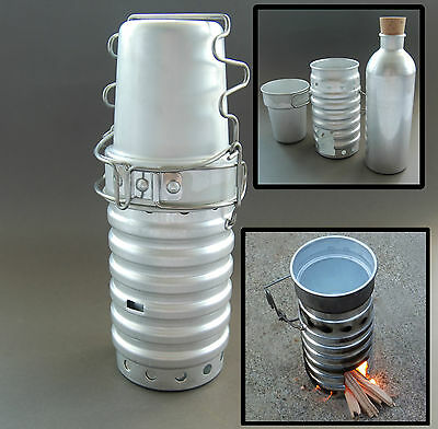 3 In 1 Set Volcano Swiss Army Stove Flask Cup Survival Canteen Mug Trangia Burne