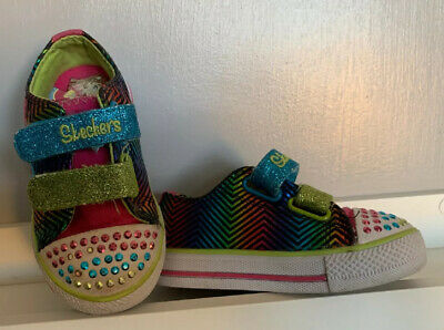 SKECHERS Trainers Size UK 5 Infants Girls Twinkle Toes Sparkle LIGHT UP Glitter