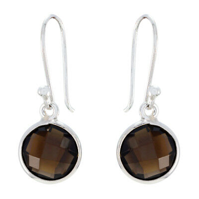 Brown 925 Sterling Silver genuine excellent Smoky Quartz jewelry Earring AU gift