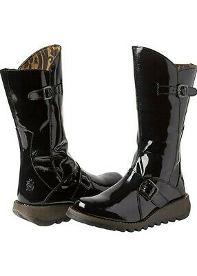 Fly London Mes 2 Womens Black Mid Calf Wedge Zip Up Leather Patent Boots  UK 8
