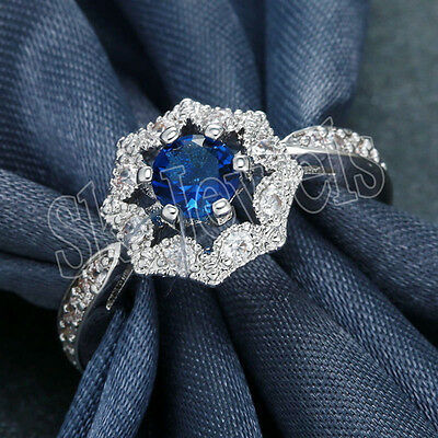 0.76Ct Natural Diamond Sapphire 14K Solid White Gold  Engagement Cluster Ring