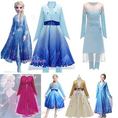 2019 New Release Girls Frozen 2 Elsa Anna Costume Party Birthday Dress 2-10Years