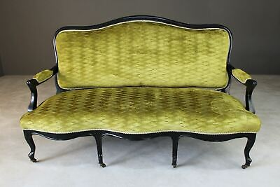 Antique French Style Victorian Ebonised & Green Upholstered Sofa Canape Settee