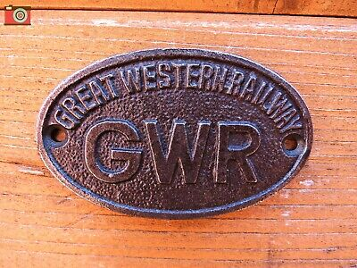 GWR SIGN, PLAQUE. Cast Iron. Vintage Antique Look. Great Western Railway. Oval.