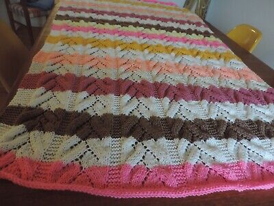 Hand Knit Acrylic Afghan,  striped soft colors, 76 inches by 44 inches