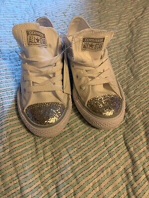 New Converse White And Silver Low Top Girls Size 13 Sparkly Sparkle Sequin Toes
