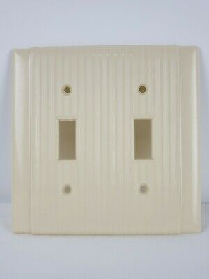 Art Deco MCM Vintage Ivory Ribbed Border Light Switch Wall  Plate Cover