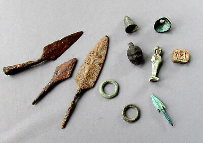 ANCIENT ARTIFACTS Egyptian & Roman AMULETS & ARROWHEADS Celtic Ring & Bell Money
