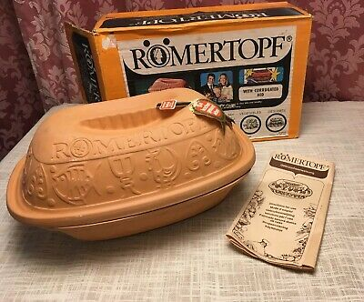 Vintage 1970s Boxed And Unused Romertopf Terracotta Oven Pot