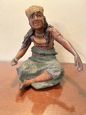 Antique (Early 1900's) Cast Iron Gypsy Lady Figurine. Hand Painted. Heavy!
