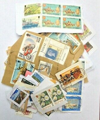 500grams USED KILOWARE CHARITY COLLECTED   JERSEY GUERNSEY I.O.M. STAMPS ON PAP