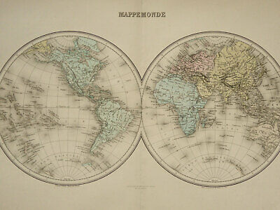 1892 Antique large WORLD MAP. GEOGRAPHY. 128 years old very decorative chart