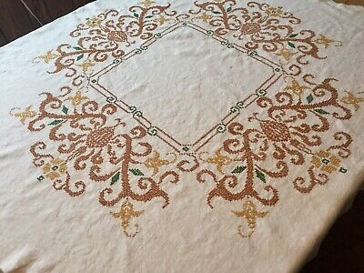 Vintage Hand Embroided Cross-Stitch Linen Square Tablecloth scallop edge.