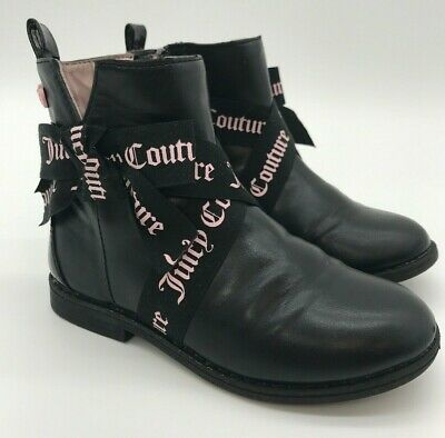 Juicy Couture  Boots Size 11 Toddler girls Black Pink Bow ribbon Lil Anaheim
