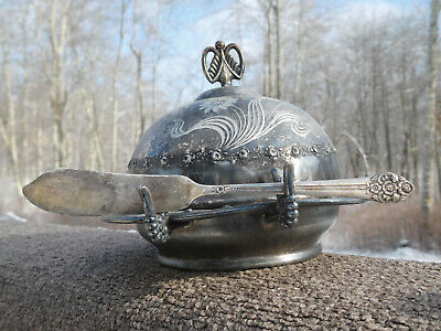 1880 Antique Pairpoint Mfg Co Mass. Etched Daisies Silverplt Covered Butter Dish