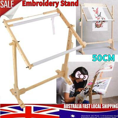 9CT Wood Embroidery Tapestry Cross Stitch Frame Floor Stand Sewing Hoop 50cm
