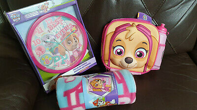 Paw Patrol Skye Fleece Blanket Back Pack & Wall Clock Girls Bundle