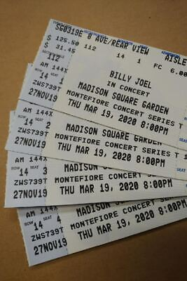 4 BILLY JOEL TICKETS MSG 3/19/2020 14th ROW REAR STAGE AISLE SEATS 1-4