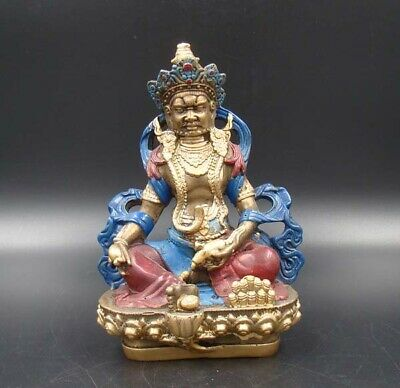 Collectible 100% Handmade carved  Painting Gild Copper Buddha India Statue