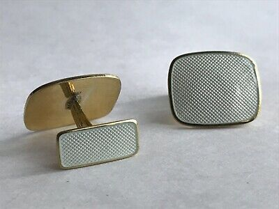 Antique Vintage Two Side Norway Guilloche Enamel Sterling Silver 925.S Cufflinks