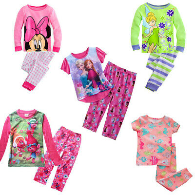 New Girls Pyjamas Sleepwear PJs Cotton Minnie Mouse Tinker Bell Frozen Size 2-8