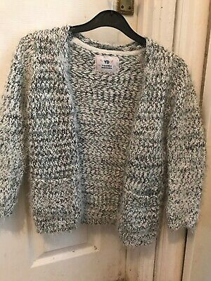Primark YD Girls Grey Fleck Shaggy Cardigan Size 7-8Yrs 128cm Super Soft