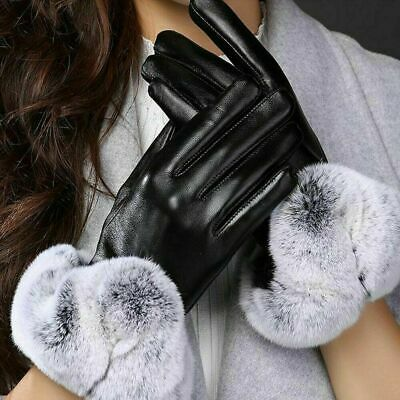 Women Ladies Black Leather Thermal Gloves With Fur Trim Fleece Lined Winter Warm