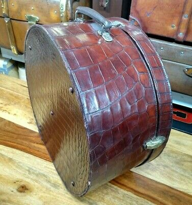 vintage crocodile skin leather round horse shoe hatbox hat box suitcase 1920's