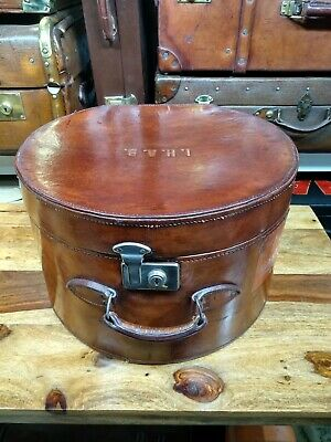 vintage round leather horseshoe hatbox hat box case ideal for ascot