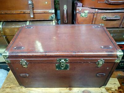 vintage french leather & leatherette motoring steamer trunk coffee table size