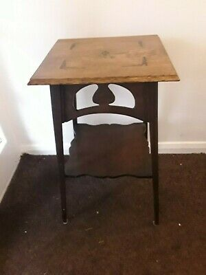 Beautiful Arts & Crafts Period Oak Side Window Table Inlay & Cutout Decoration
