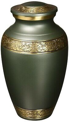 Classic Brilliance Cremation Urn Funeral Brass Human Ashes Burial Durable Green