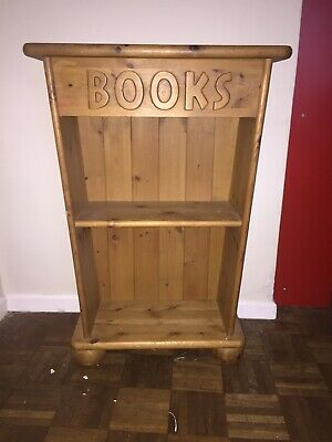 "Arts crafts style small 2 shelved  book shelf solid medium oak 1900s/30s ""Books"""