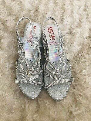 Worn Once Girls Sandals Shoes Indian Wedge Pakistani Silver Sparkle Diamonte
