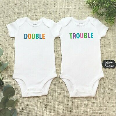 Double Trouble - Twin Brother & Sister Baby Bodysuits or Children's T-shirt Set!